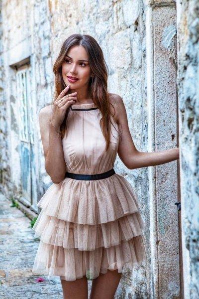 Vestito elegante corto - Rosa cipria - Vestiti eleganti gogolfun.it