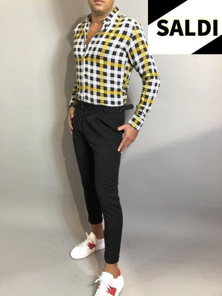 Camicia a quadri - Slim - Primaverile -  Nera e gialla