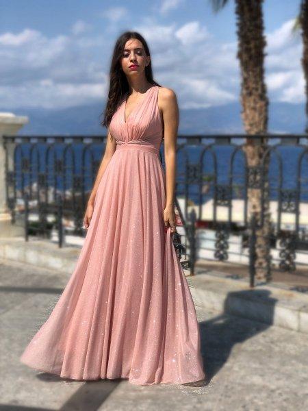 Abito elegante lungo - Vestito Rosa cipria - Lungo - Abito lungo elegante - Gogolfun.it