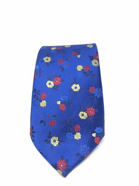 Cravatta blu elettrico - A fiori - Gogolfun.it