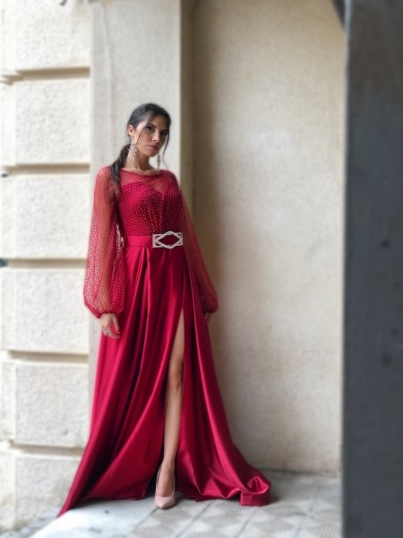Vestito rosso - Da cerimonia - Con spacco - Vestiti da cerimonia - Gogolfun.it