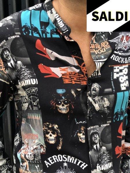 Camicia fantasia - collo coreano - Viscosa