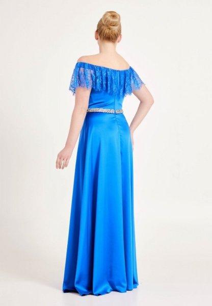 Vestito elegante - Scollo a baca - Blu cobalto