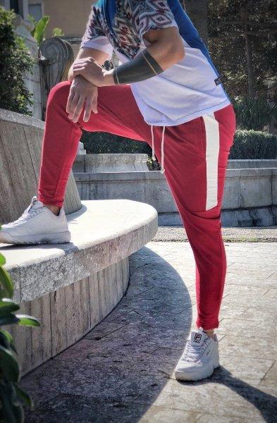Pantatuta rosso - Pantalone sportivo uomo - Pantaloni felpati - Gogolfun.it