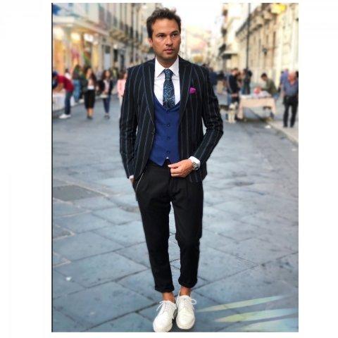 Giacca uomo - Malta - Gessato nero e blu - Slim fit