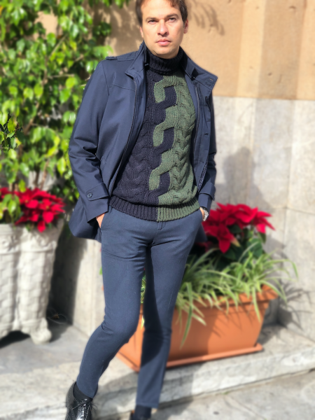 Maglione, uomo - Dolcevita, bicolore