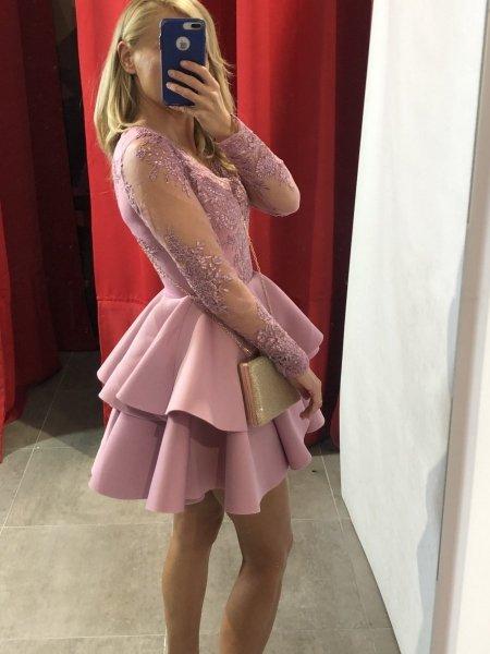 Vestito elegante corto, rosa - Abiti donna, con manichetta - Vestiti eleganti - Gogolfun.it