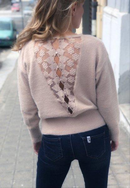Pullover donna, beige - Maglioni con schiena scoperta - Pullover donna - Gogolfun.it