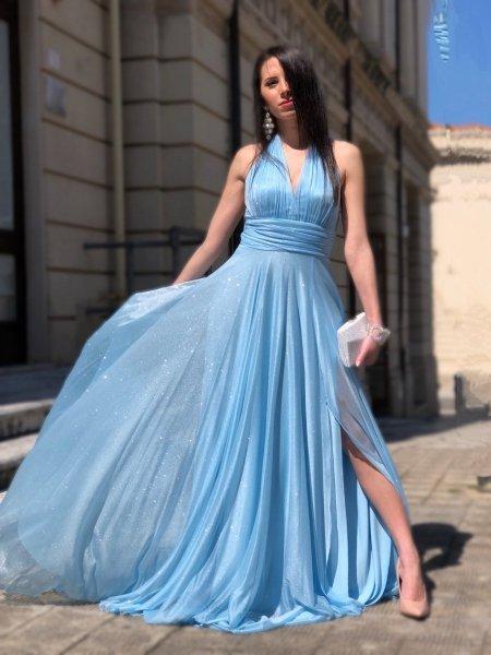 Vestito azzurro, elegante - Lungo - Con spacco - Abiti da cerimonia - Gogolfun.it