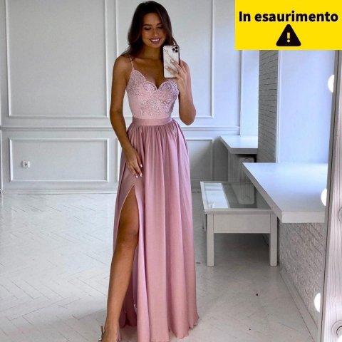 Vestito rosa cipria - Lungo - Elegante - Con spacco - Vestiti eleganti - Gogolfun.it