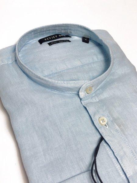Camicia di lino, celeste - Collo coreana - Key Jey - Camicie di lino - Gogolfun.it