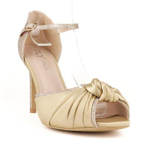 Sandali oro - Tacco alto - Scarpe con tacco alto - Cerimonia - Gogolfun.it