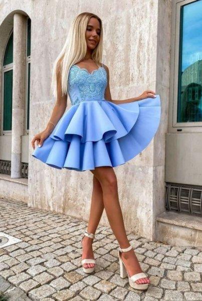 Abito corto elegante - Azzurro - A palloncino - Abiti corti - Vestito azzurro - Gogolfun.it