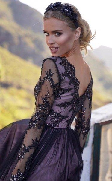 Vestito lungo elegante - Nero - Con manichetta - Vestiti lunghi - Gogolfun.it
