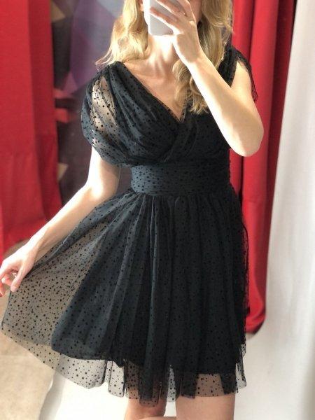 Vestito corto elegante - In tulle - Nero