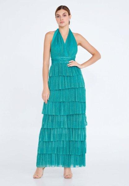 Vestito elegante lungo - Verde - Brillantinato - Cerimonia donna - Gogolfun.it