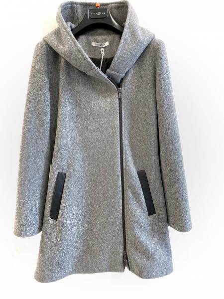 Cappotto con cappuccio, grigio con cerniera laterale - Gogolfun.it