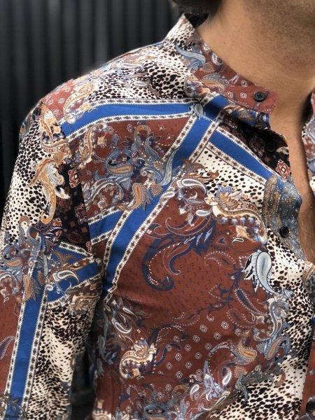 Camicia coreana - Fantasia marrone e blu - Viscosa - Camicie uomo - Camicia fantasia -Gogolfun.it