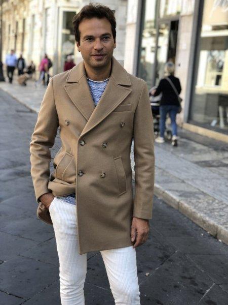 Palto męskie, dwurzędowe - Slim - kolor camelowy - Made in Italy