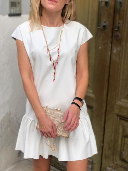 Vestito corto, bianco - Vestito in ecopelle - Abito corto - Vestiti donna - Gogolfun.it