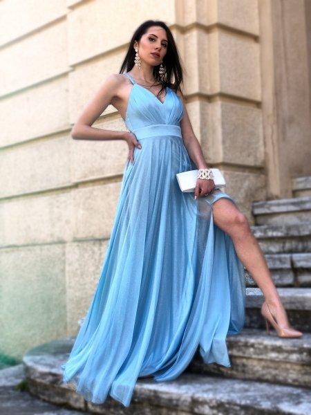 Vestito azzurro, lungo - Elegante - Cerimonia donna  - Gogolfun.it