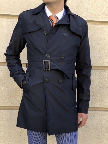 Dwurzędowy płaszcz męski - Niebieski -  Made in Italy - Gogolfun.pl