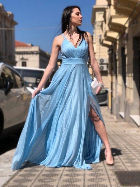 Elegancka sukienka wieczorowa, długa – niebieska – brokatowa - Gogolfun.pl