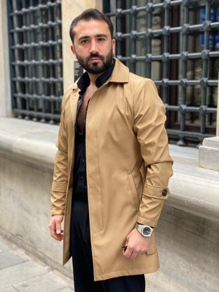 Płaszcz męski, jednorzędowy - kolor beżowy  - Made in Italy