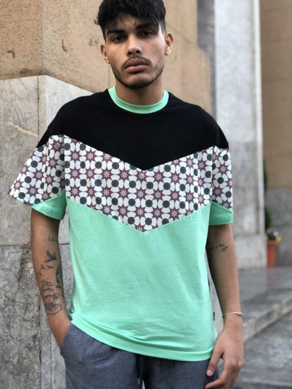 T shirt uomo Hippy - Maglietta colorata - Verde e nera