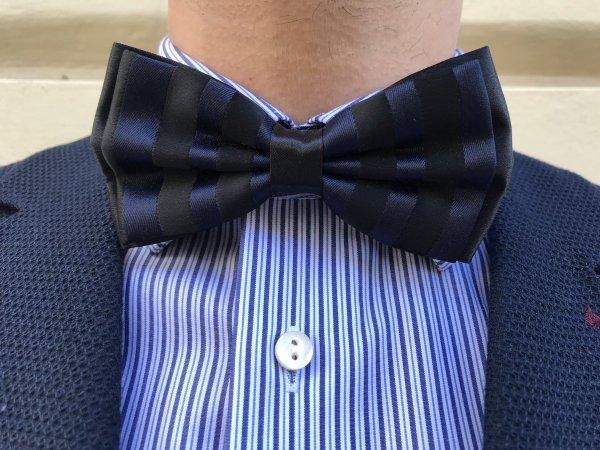 Papillon in raso a righe blue e nero - Accessori uomo - Gogolfun.it