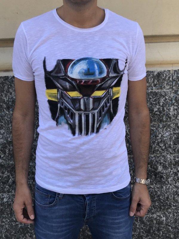T shirt dipinta a mano - Mazinga - Gogolfun.it