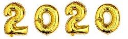 Balony foliowe cyfry Nowy Rok  2020 Sylwester / Zestaw 76cm /Złote