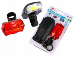 Lampka rowerowa zestaw przód COB tył LED lampki