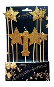 Dekoracja urodzinowa świeczka i gwiazdy na piku 8szt.