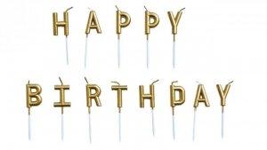 Świeczki urodzinowe Happy Birthday metaliczne złote