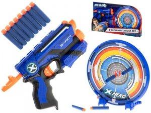 Pistolet na piankowe strzałki maszynowy + tarcza + 8 strzałek