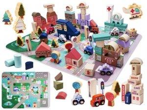 Klocki drewniane edukacyjne miasto puzzle 135el.