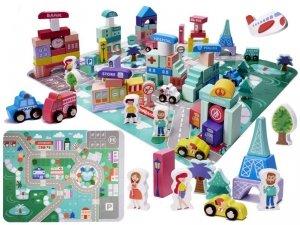 Klocki drewniane edukacyjne miasto puzzle 128el.