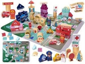 Klocki drewniane edukacyjne miasto puzzle 100el.