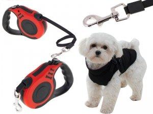 Smycz automatyczna taśma 5m dla psa do 14kg czerwo