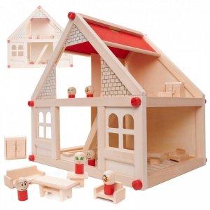 Domek dla lalek drewniany + mebelki i ludziki 40cm