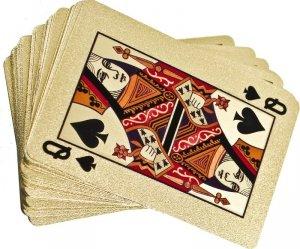 Karty do gry plastikowe złote