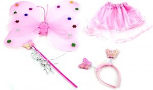 Kostium wróżki skrzydła+różdżka+opaska jasny róż