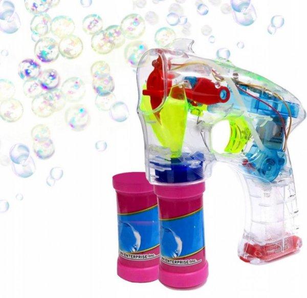 Pistolet do robienia baniek mydlanych + płyn
