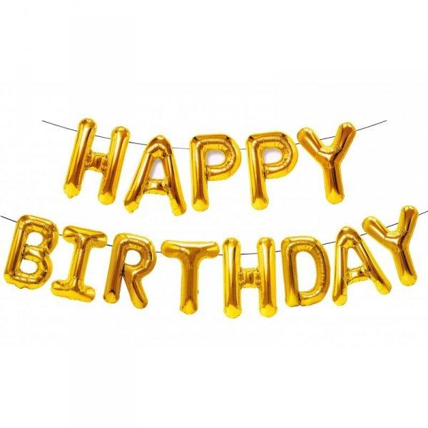 Balony foliowe zestaw liter Happy Birthday złoty