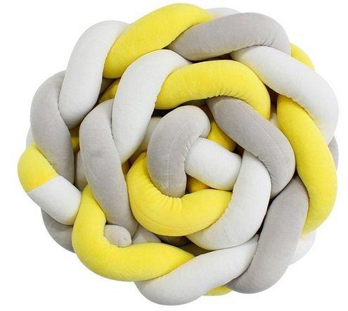 Otulacz warkocz żółty/szary/biały 7x100cm