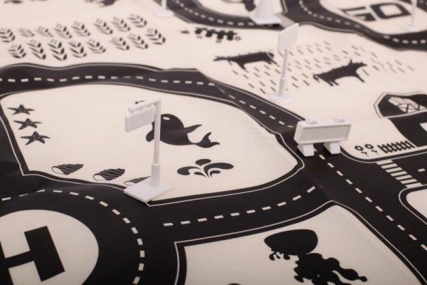 Mata do zabawy miasto ulica + znaki drogowe wodoodporna kremowa 130x100cm