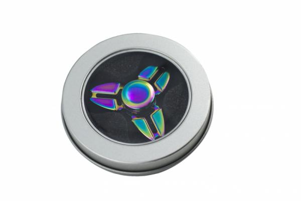 Fidget Spinner Metalowy Tęczowy wzór 2 + box