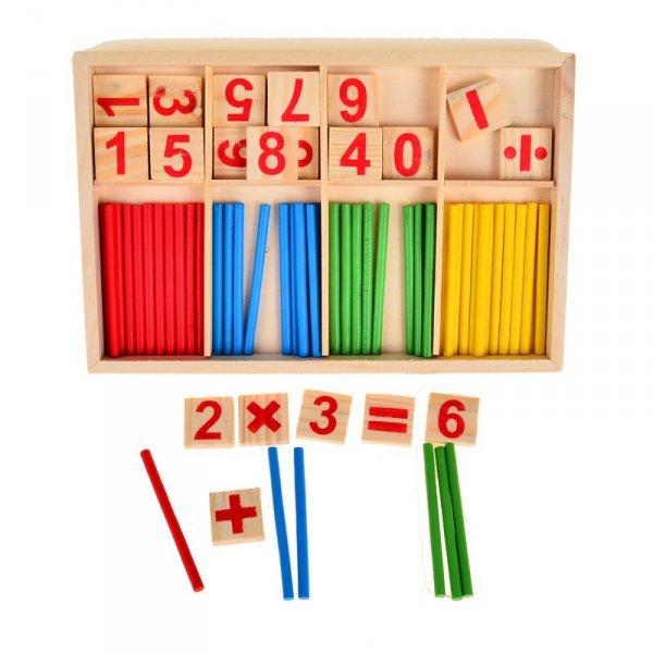 Zestaw edukacyjny do nauki liczenia  cyfry + patyczki montessori