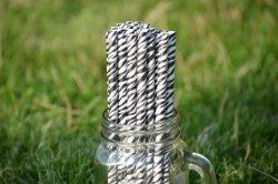 Ekologiczne słomki z papieru PREMIUM 8 mm x 197mm  zebra